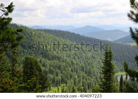 Ergaki. Natural Park. Beautiful view. The trail, forest, lake, mountains. - stock photo