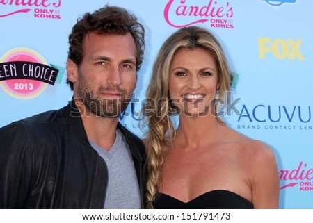 Erin Andrews and Jarret Stoll at the 2013 Teen Choice Awards Arrivals, Gibson Amphitheatre, Universal City, CA 08-11-13 - stock photo