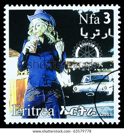 ERITREA - CIRCA 2003: A postage stamp printed in Eritrea showing Madonna Louise Ciccone, circa 2003 - stock photo