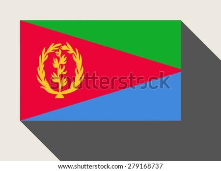 Eritrea flag in flat web design style. - stock photo