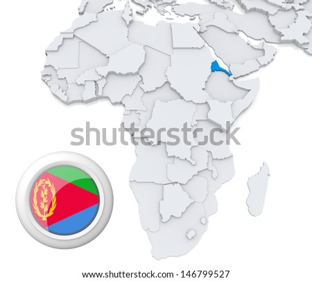 Eritrea with national flag - stock photo