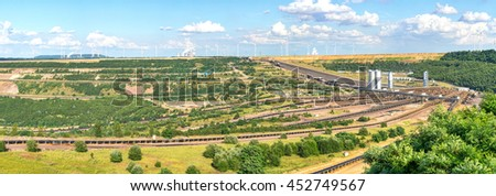 ERKELENZ, GERMANY - JULY 14: Lignite (brown coal) strip mining at Garzweiler, Germany, a large surface mine for power generation. - stock photo