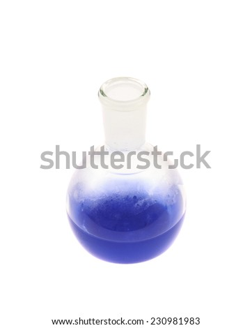 Erlenmeyer flask filled with the blue colored liquid isolated over the white background - stock photo