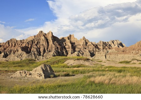 Eroded buttes, Badlands National Park, South Dakota, USA - stock photo