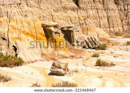 Eroded Cliffs in the North Dakota Badlands - stock photo