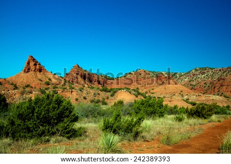 Eroded ridges in Caprock Canyons State Park in Texas - stock photo