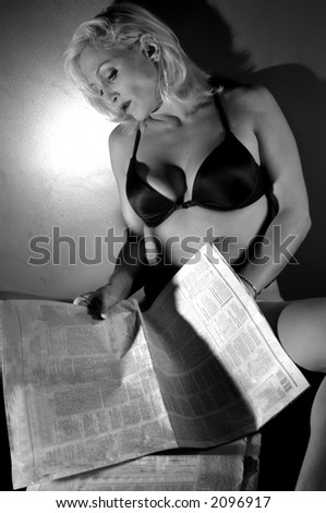 erotic blond - stock photo
