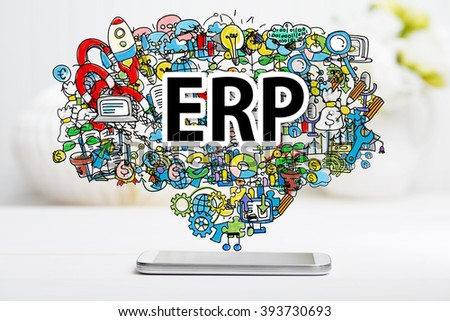 ERP concept with smartphone on white table - stock photo