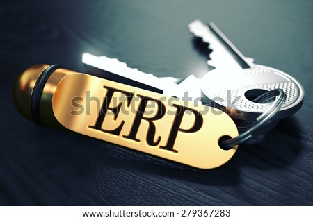 ERP - Enterprise Resource Planning - Concept. Keys with Golden Keyring on Black Wooden Table. Closeup View, Selective Focus, 3D Render. Toned Image. - stock photo