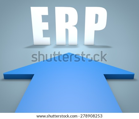 ERP - Enterprise Resource Planning - 3d render concept of blue arrow pointing to text. - stock photo