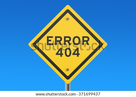 Error 404 concept on the road sign isolated on blue sky - stock photo