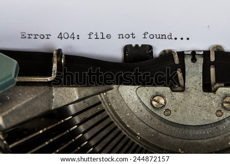 Error message on vintage typewriter - stock photo