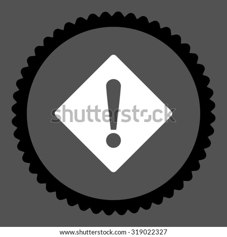 Error round stamp icon. This flat glyph symbol is drawn with black and white colors on a gray background. - stock photo