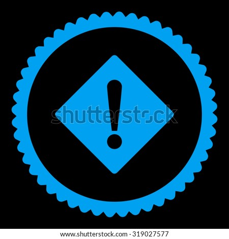 Error round stamp icon. This flat glyph symbol is drawn with blue color on a black background. - stock photo