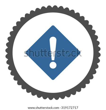 Error round stamp icon. This flat glyph symbol is drawn with cobalt and gray colors on a white background. - stock photo