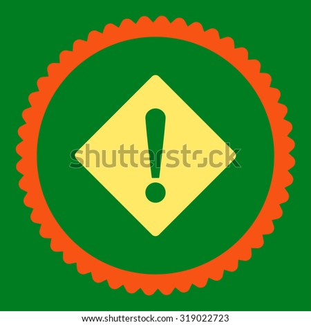 Error round stamp icon. This flat glyph symbol is drawn with orange and yellow colors on a green background. - stock photo