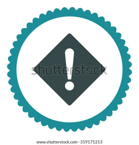Error round stamp icon. This flat glyph symbol is drawn with soft blue colors on a white background. - stock photo