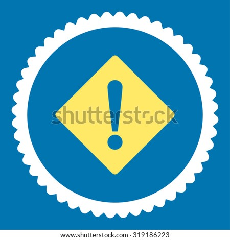 Error round stamp icon. This flat glyph symbol is drawn with yellow and white colors on a blue background. - stock photo