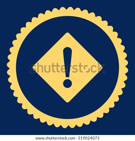Error round stamp icon. This flat glyph symbol is drawn with yellow color on a blue background. - stock photo