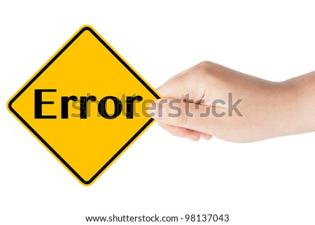 Error sign with hand on the white background - stock photo