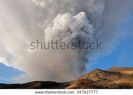 eruption from Voragine Crater of Etna Volcano, 05-12-2015 Sicily - stock photo