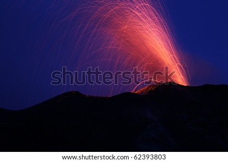 eruption of the volcano stromboli - stock photo