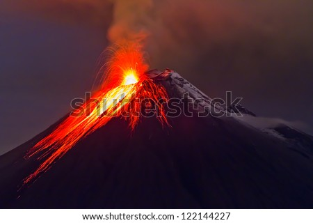 eruption of the volcano with molten lava flowing on the slopes (Tungurahua, Ecuador) - stock photo