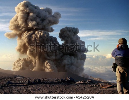 Eruption on top of he Volcano Semeru in Indonesia - stock photo