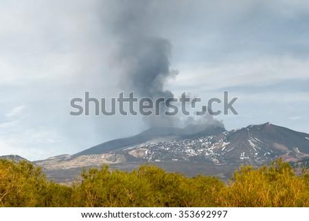 Eruption on volcano Etna with ash emission on 4 December 2015 - stock photo