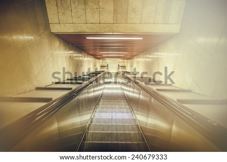 escalator, effect vintage - stock photo