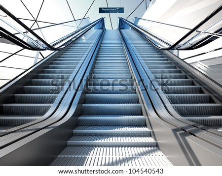 escalator in modern futuristic interior - stock photo