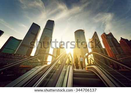 escalator in Shanghai lujiazui financial center, China - stock photo