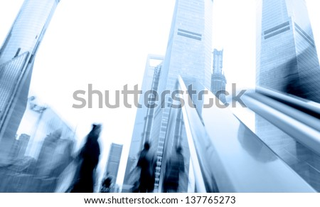 Escalator in Shanghai streets, blur motion. - stock photo