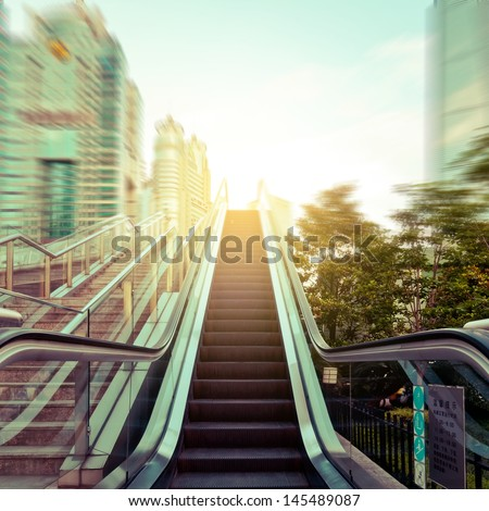 escalator in the outdoor under the sky, urban abstract landscape - stock photo