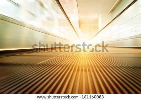 escalator ,interior of the shanghai pudong airport . - stock photo