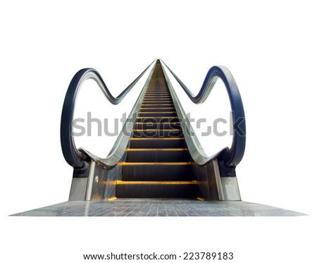 escalator leading upward, isolated on white background - stock photo