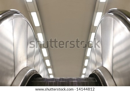 Escalators in a London tube station. - stock photo