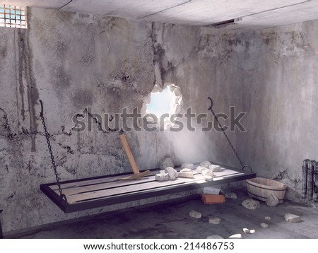 escape from prison cell. 3D creative concept - stock photo