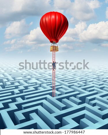 Escape opportunity  and freedom from adversity solution leadership with a businessman climbing a ladder out of a maze in a hot air balloon as a business concept of overcoming challenges for success. - stock photo