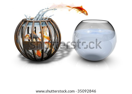 Escape Out of Fish bowl Jail - stock photo