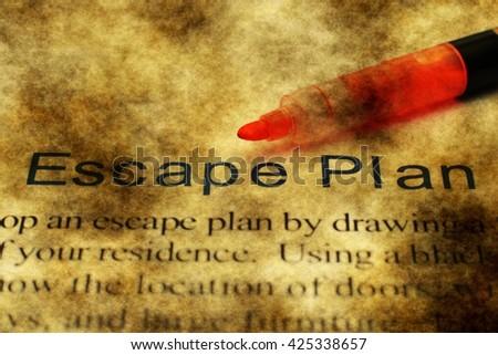 Escape plan grunge concept - stock photo