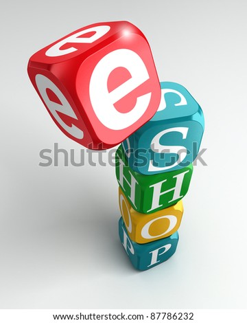 eshop sign 3d colorful buzzword tower on white background - stock photo