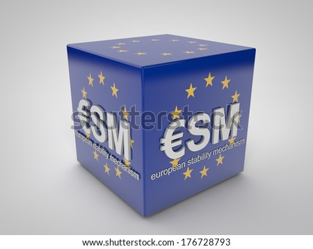 ESM european stability mechanism on blue cube with european  - stock photo