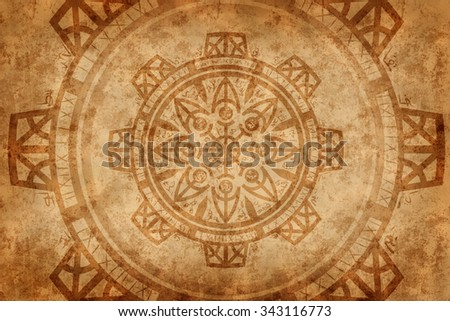 Esoteric background. Backdrop design of sacred symbols, signs, geometry and designs to provide supporting element for illustrations on magic, ritual, astrology, alchemy, witchcraft and fortune telling - stock photo