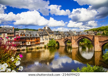 Espalion - pictorial village in southern France - stock photo