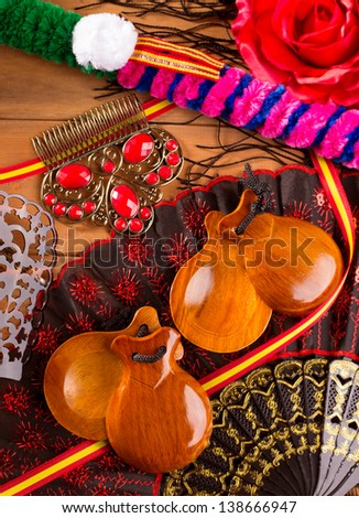 Espana typical from Spain with castanets rose fan bullfighter and flamenco comb - stock photo