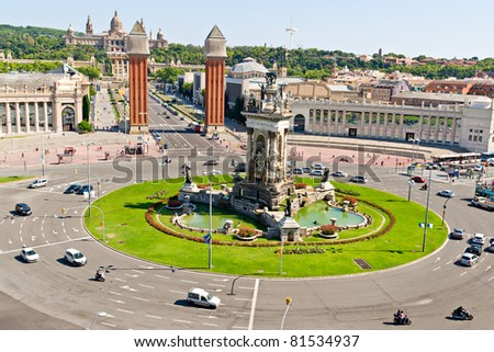 Espanya Square in Barcelona and National Palace - stock photo