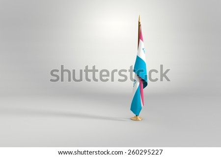 Espirito Santo state isolated flag on a brown and golden wooden mast 3d illustration - stock photo