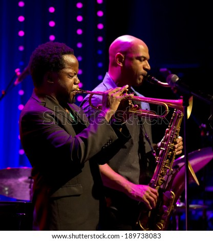 ESPOO,FINLAND-APRIL  26,2014 Ambrose Akinmusire  Quintet performs live on 28th April Jazz. He won 2012 DownBeat Critics Poll for Best Jazz Trumpet and Thelonious Monk International Jazz Competition - stock photo