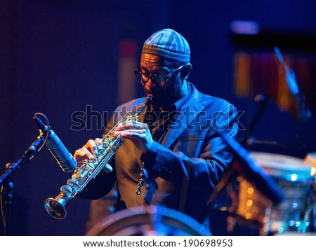 ESPOO, FINLAND -APRIL  24 2014:American Kenny Garrett performs live on 28th April Jazz.He is a Grammy Award-winning jazz saxophonist and was a member of Duke Ellington Orchestra &  Miles Davis's band - stock photo